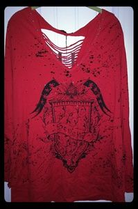 NEW Seven Luxe Lady's Red Plus Stylish Sexy Shirt
